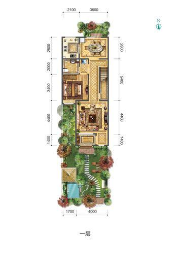 温泉叠院A1户型(一层)