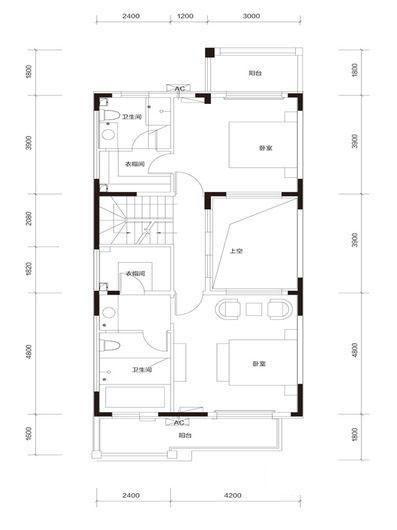 臻泉联院D1 地上二层户型图