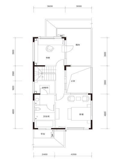 臻泉联院D1 地上三层户型图