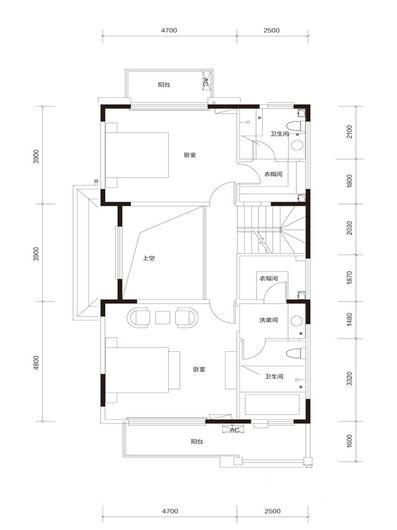 臻泉联院D2 地上二层户型图