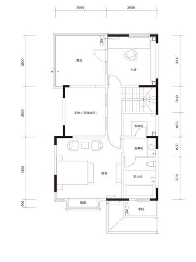 臻泉联院D2 地上三层户型图