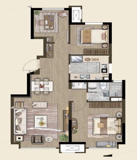 洋房标准层88平米户型
